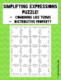simplifying expressions puzzle distributive property and