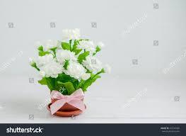 small flower pot close artificial jasmine flower bouquet pink stock photo 457747426