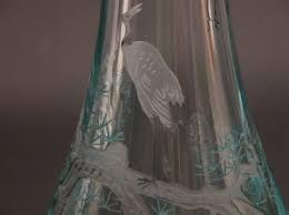 Engraved Glass Vases Japanese Etched Glass Vase 09 19 03 Sold 201 25