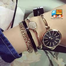 anne klein bracelet set images Anne klein women 39 s gold black watch bracelet set wrist bangle jpg
