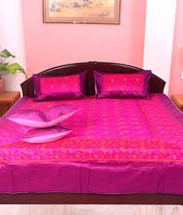 Cheap King Size Bed Sheets Online India Jaipuri Pink Silk Kingsize Bed Cover Buy Jaipuri Pink Silk
