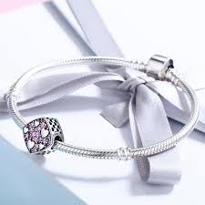 sterling silver crystal heart bracelet images Authentic 925 sterling silver pink crystal heart square charm jpg