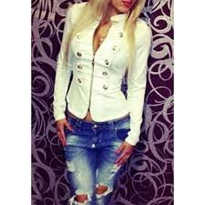 double breasted fashionable stand collar zipper long sleeve women