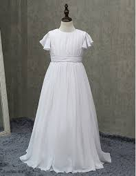 simple communion dresses inexpensive pleated chiffon communion dresses with flutter