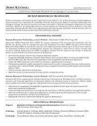 Resume Examples For Human Resources by Free Human Resources Technician Resume Example