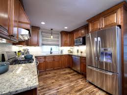 Kitchen With Wood Floors by Hardwood Flooring In The Kitchen Pine Wood Flooring Brown Curtains