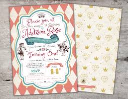 alice in wonderland invitation first birthday invitation