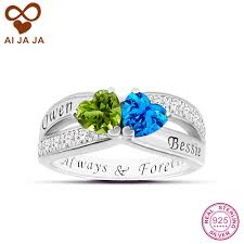 Birthstone Wedding Rings by Online Get Cheap Engraving Engagement Rings Aliexpress Com