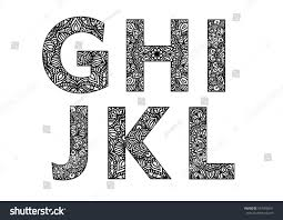 decorative made lettering ornamental font stock vector