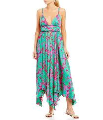 Free People Summer Nights Printed Deep V Neck Tie Waist Maxi Dress