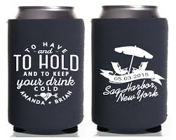 wedding koozie to and to hold chairs personalized wedding koozies