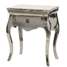silver side table uk argentine silver metal french bedside table with one drawer crown