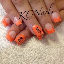 orange acrylic nails with browning decal kcnails for prom