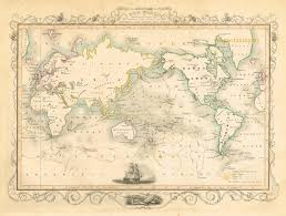 Vintage Chicago Map by The World On Mercator U0027s Projection Shewing The Voyages Of Captain