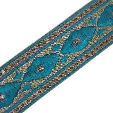 ribbon trim 55 mm wide silk woven indian lace border trim or ribbon gray