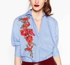 striped blouse 2018 2017 flower appliques striped shirt