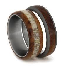 matching titanium wedding bands titanium wedding band set elk antler ring with a matching wood