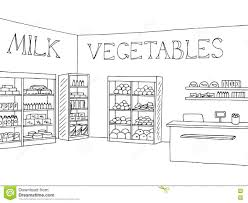grocery store shop interior black white graphic sketch