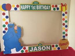 cookie monster table decorations sesame street photo booth prop frame wooden sesame street party