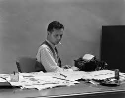 1940s Desk 1930s 1940s Busy Man In Shirt Sleeves Behind Office Desk Working