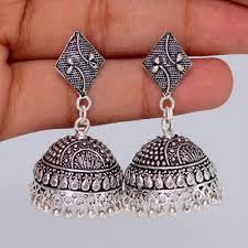 jhumka earrings uk square stud silver tone oxidised jhumka earrings bonyhub