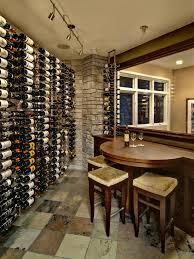 Wine Cellar Floor - vertical wine rack wine cellar traditional with picture window