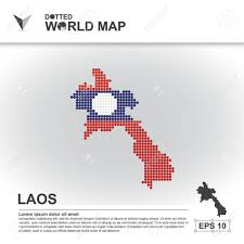Laos World Map by Map Asean Illustration Dot Background Dotted Asia Southeast
