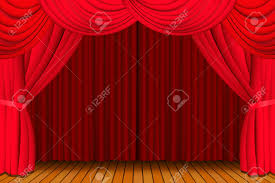 stage with a closed red theatre curtain royalty free cliparts