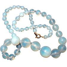 blue opal necklace antique blue opal opalescent glass bead necklace from