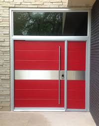 modern contemporary door posted by portella steel doors and marvelous modern entry doors for home with bold red color combined rectangular glass transom and stainless handle doors rod on painted brick walls ideas