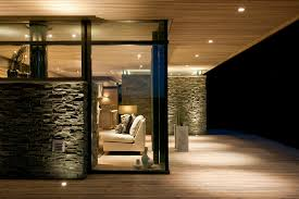 Home Exterior Design Stone Architecture Modern Minimalist Lake House Design With Stone Wall