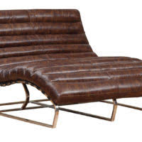 furniture brown fabric double chaise lounge sofa with arm and