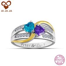 popular custom engraved promise rings buy cheap aijaja sterling silver personalized engraved names birthstones promise rings customized two tone hearts women