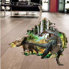 3d impression dinosaur floor stickers boys kids home bedroom