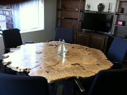 Maple Dining Room Chairs Custom Made Round Live Edge Maple Burl Table Furniture