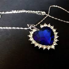 titanic blue heart necklace images Titanic heart of the ocean sapphire crystal chain necklace pluto99 jpeg