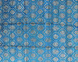 Sari Silk Rugs by Art Deco Denim Blue Opaque 8x10 Sari Silk Hand Knotted Geometric