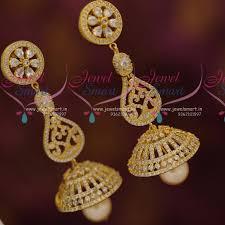 big jhumka gold earrings big cz jhumka earrings online indian