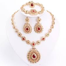 bridal jewelry necklace earrings images Bridal jewelry sets gold color necklace earrings bracelet set with jpg