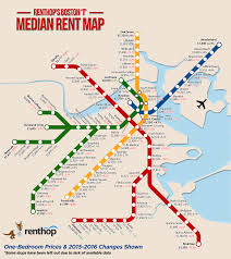 a map of the median one bedroom rent near each mbta stop