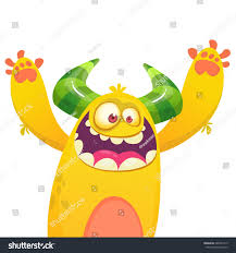 Monster Halloween cartoon yellow furry monster halloween vector stock vector