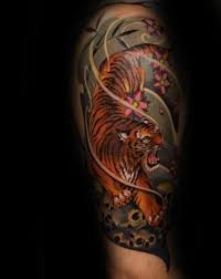 unique half sleeve japanese tiger tattoos for males tattoos