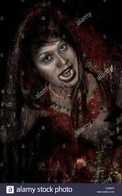 painterly and textured effect image of a female vampire