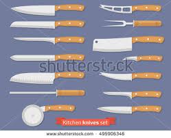 different kinds of kitchen knives set different kind knives kitchenware utensils stock vector