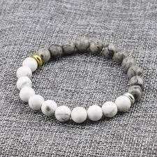 white bead bracelet images Natural stone white howlite marble with grey stone bead bracelet jpg