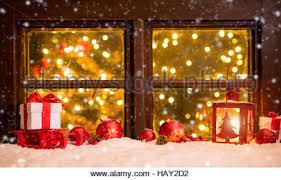 atmospheric christmas window sill decoration stock photo royalty
