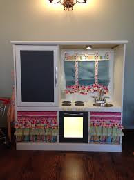 play kitchen from furniture turn an entertainment center into a children s play kitchen
