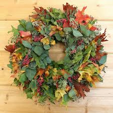autumn leaf berries wreath made with fall leaves eucalyptus