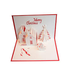 blessing cards christmas card greeting cards 3d paper cutting castle christmas