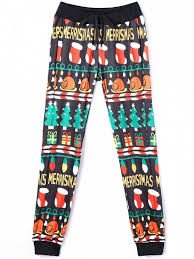 2018 Christmas Print Drawstring Jogger Pants In COLORMIX S  ZAFUL